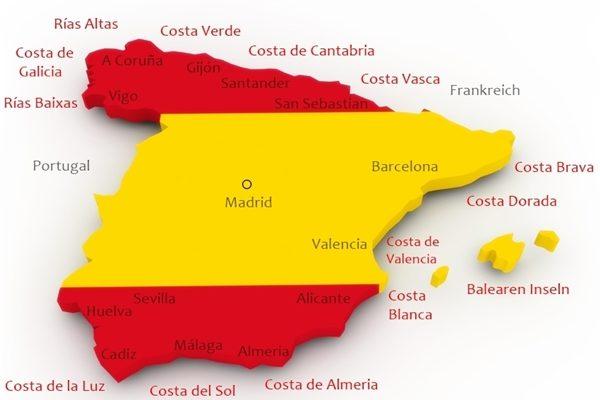 Karte Küsten Spanien