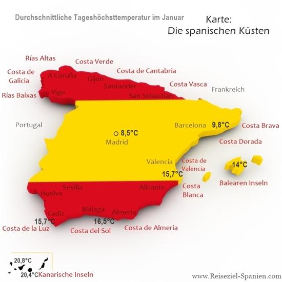 Durchschnittstemperaturen im Januar in Spanien