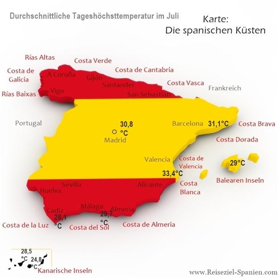 Durchschnittstemperaturen im Juli in Spanien